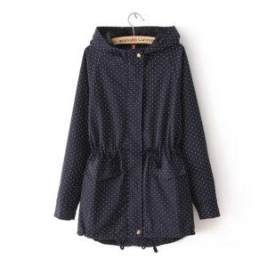 913331a8098 2018 Trench Coats Autumn Winter Women Cute Polka Dots Hooded Trench Abrigos  Chaquetas Fashion Plus Size XXXL Coat