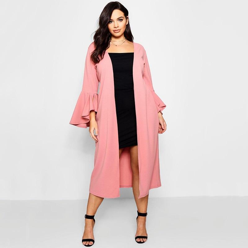 5xl 6xl Plus Size Women Trench Fashion Ruffle Sleeve Open Stitch Autumn Winter Long Coat Casual Elegant Pink White Clothing