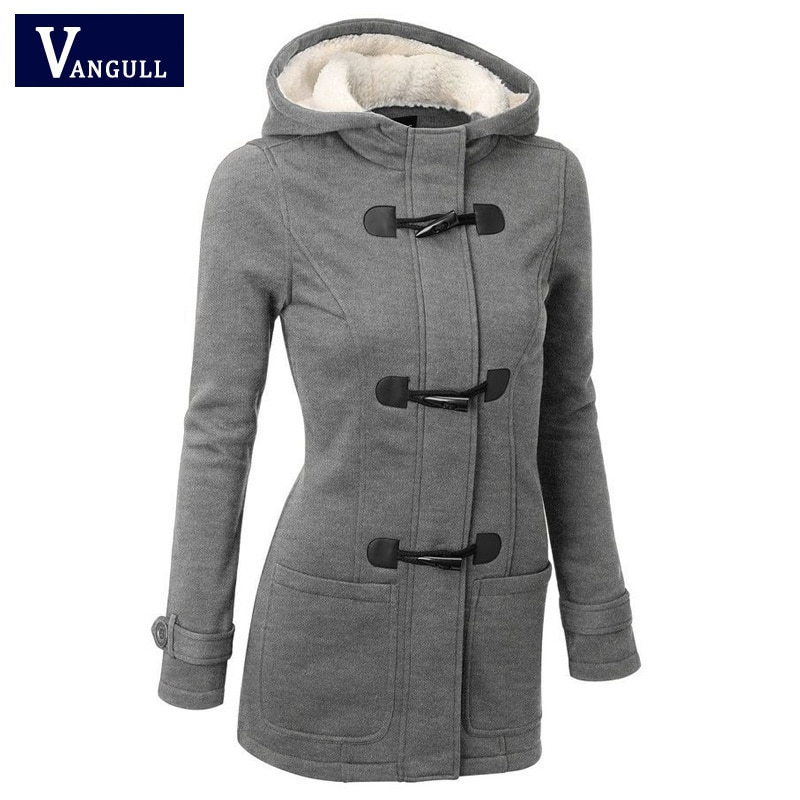 Elegant and warm coat for women's fitted with hood, pockets and buttons